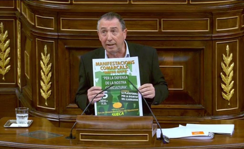 El Congrés aprova una moció de Compromís per a compensar les pèrdues del sector citrícola amb d'avantatges fiscals i ajudeseuropees