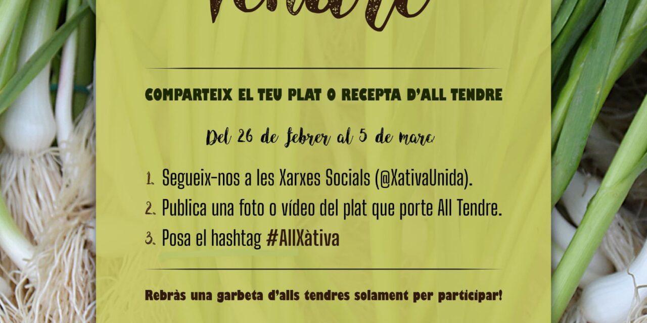 XÀTIVA UNIDA IMPULSA UNA CAMPANYA DE PROMOCIÓ DE L'ALL TENDRE PER XARXES SOCIALS