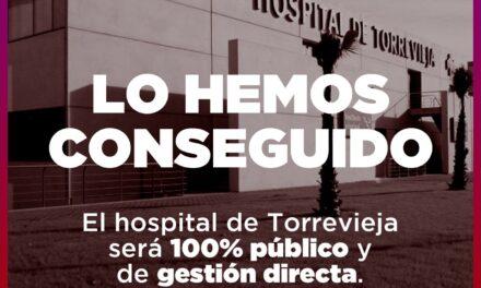 EUPV celebra que finalment la gestió de l'àrea de salut de Torrevieja siga 100% pública